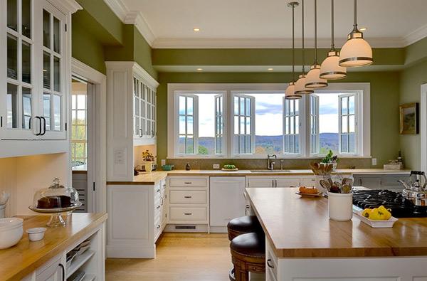 beyaz ve yeşil tonlu mutfak