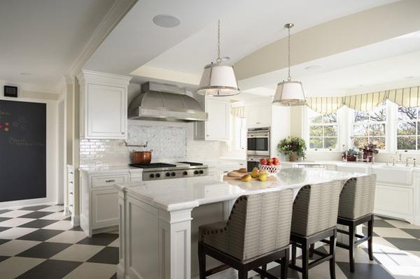 klasik beyaz mutfak mimarisi