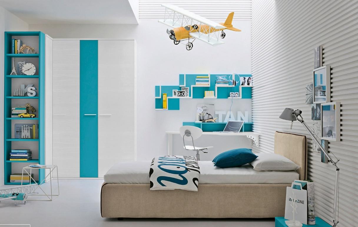 mavi beyaz çocuk odası
