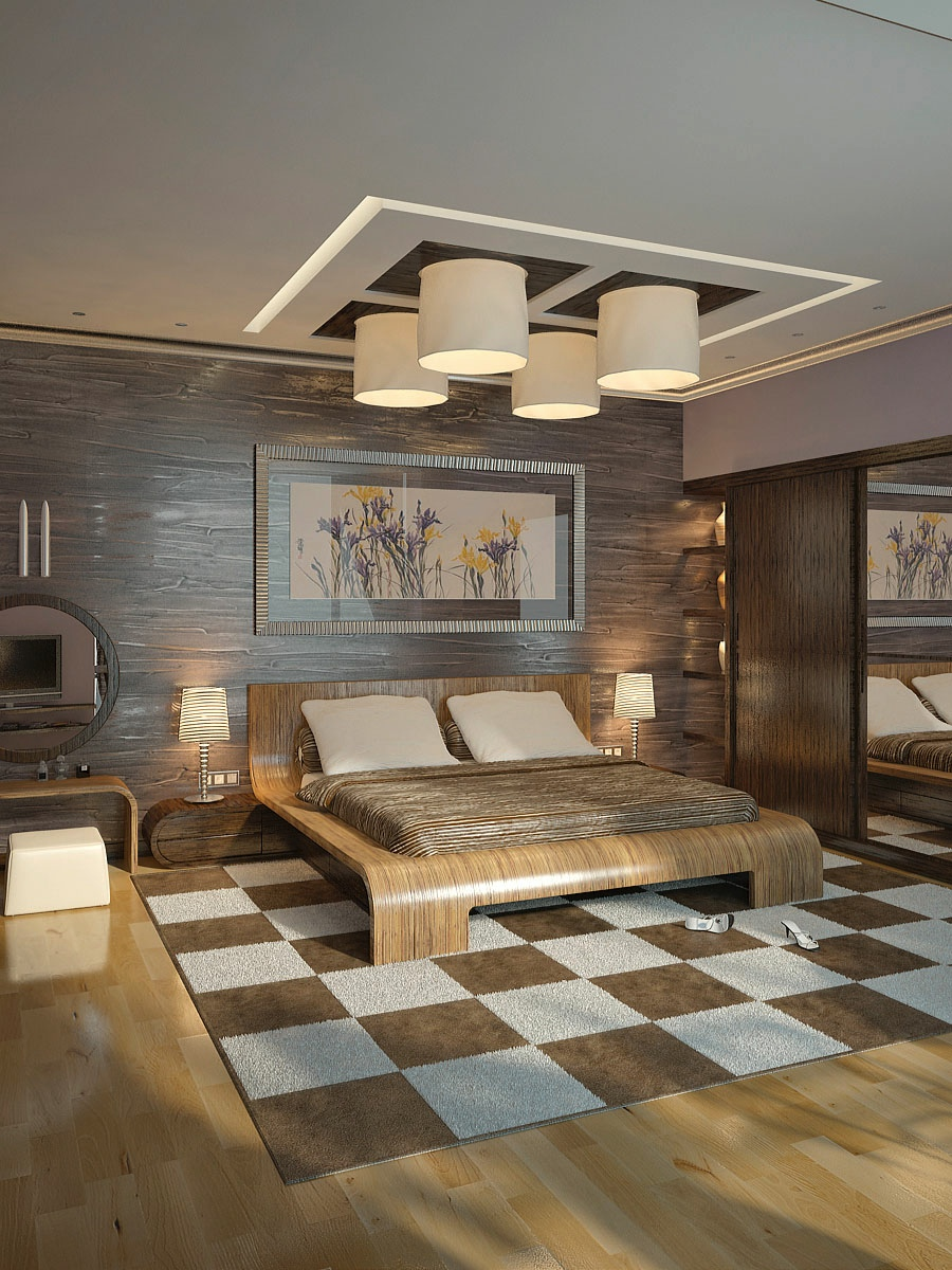 silindir abajurlu yatak odası