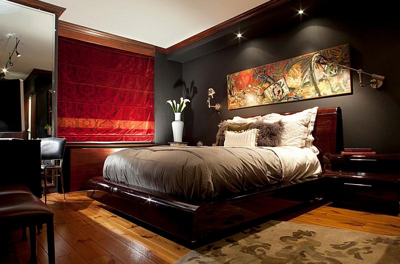 ilginç ışıklandırmalı yatak odası