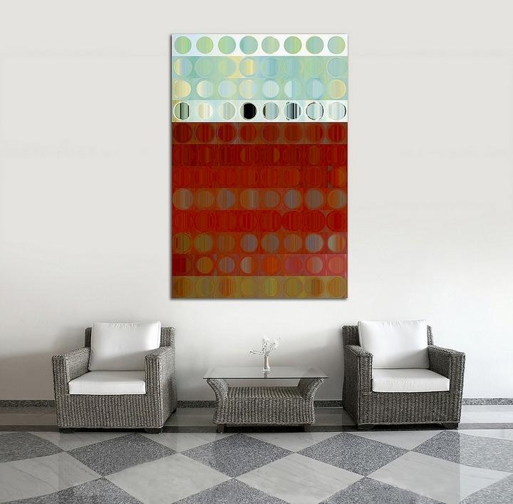 kırmızı tablolu oturma odası