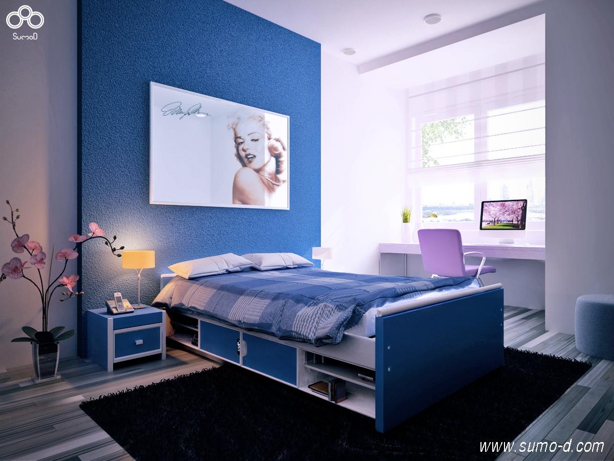 mavi ve mor kız çocuk odası