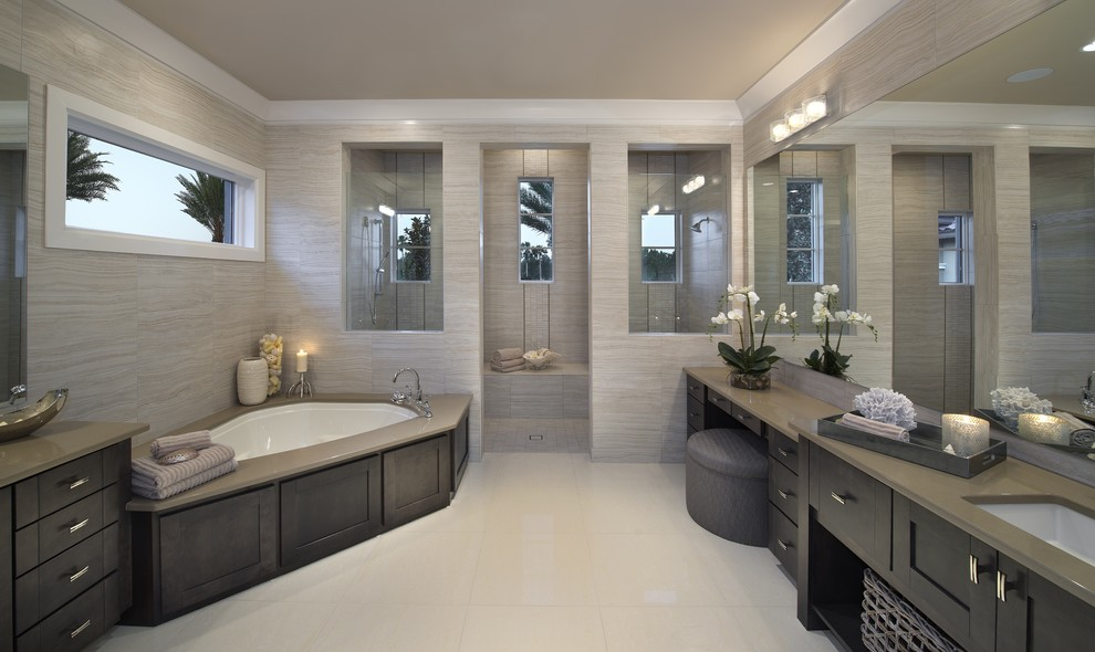 modern gri banyo