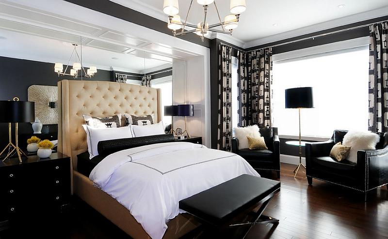 siyah aydınlatmalı yatak odası