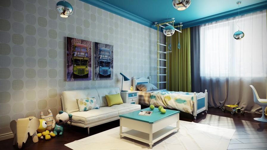 turkuaz renkli çocuk odası