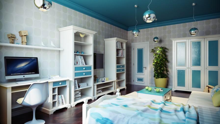 turkuaz ve beyaz renkli çocuk odası