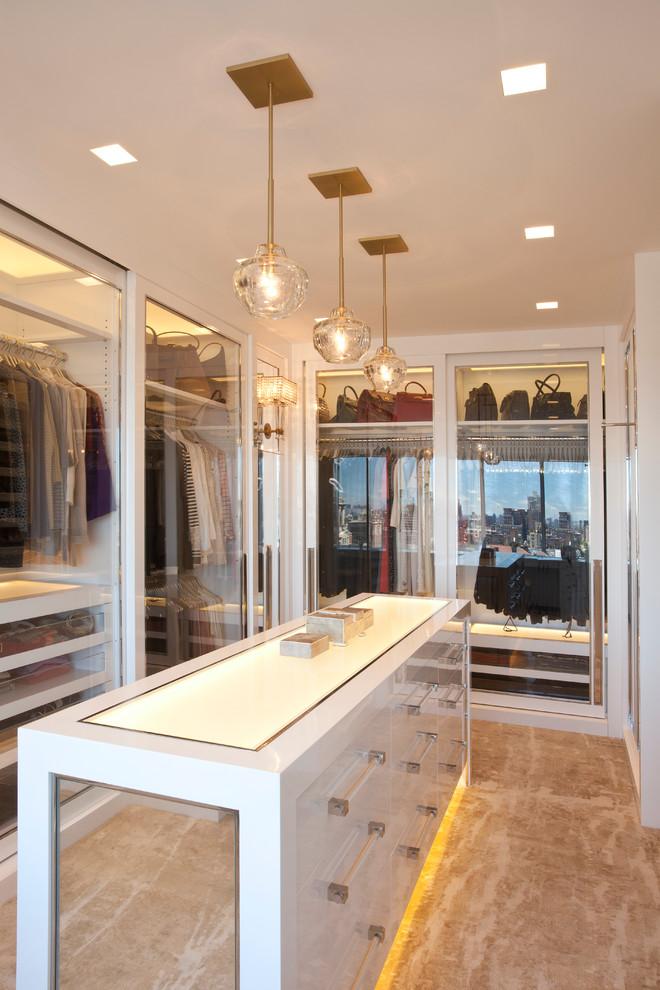 cam bölmeli giyinme odası