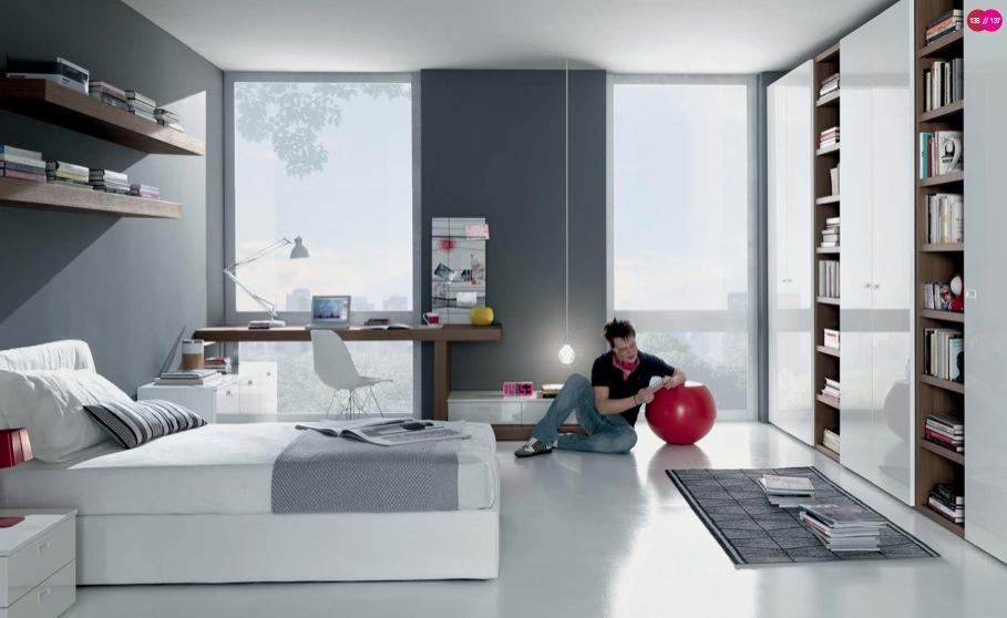 beyaz modern genç odası