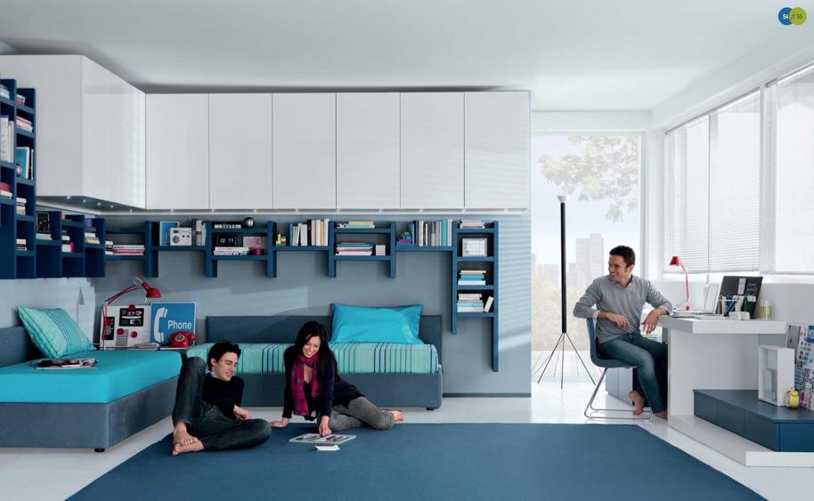 mavi beyaz italyan genç odası