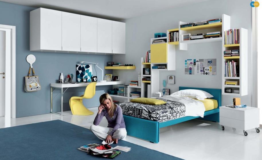 sarı beyaz genç kız odası