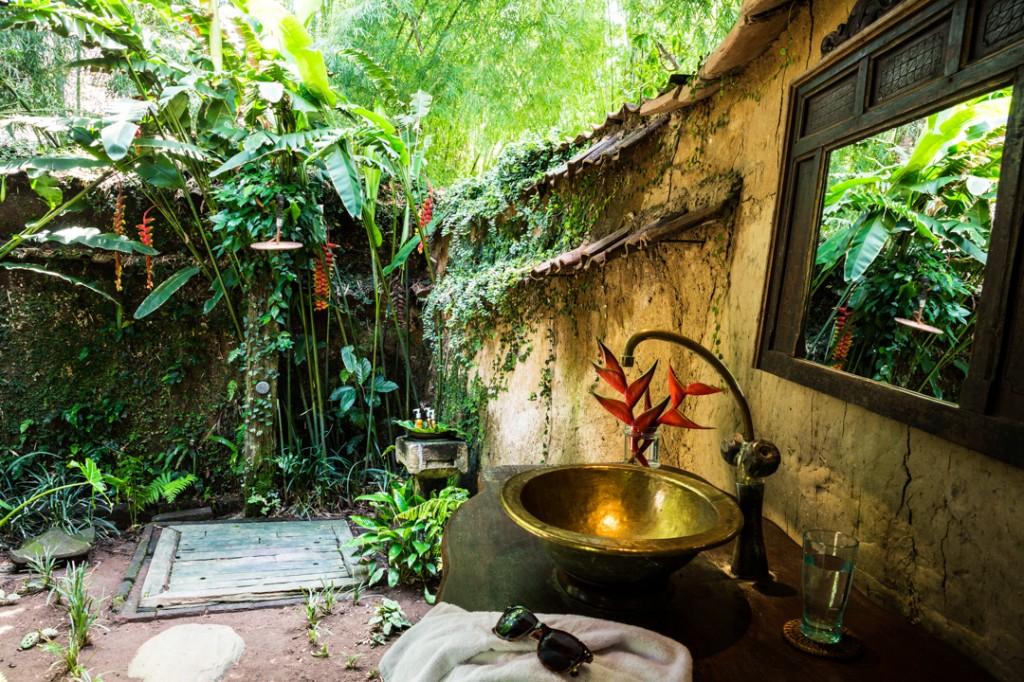 bambu dış bahçe lavabo