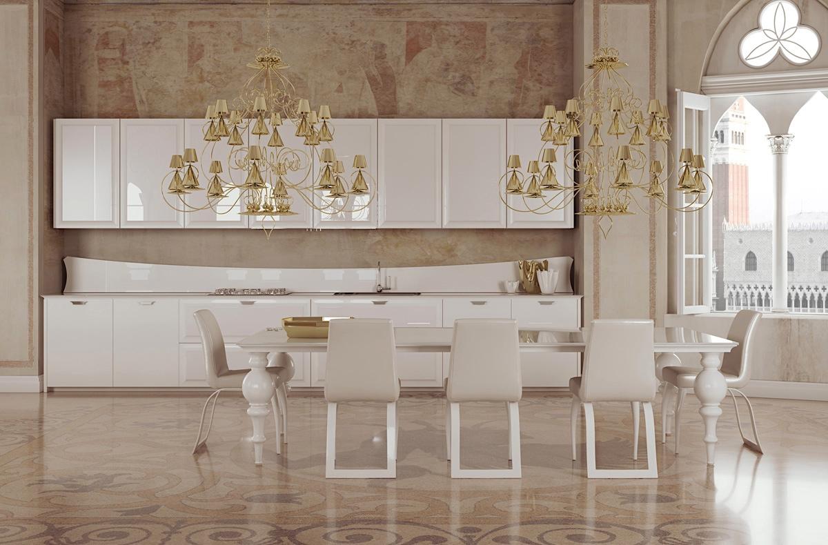altın avizeli yemek odası