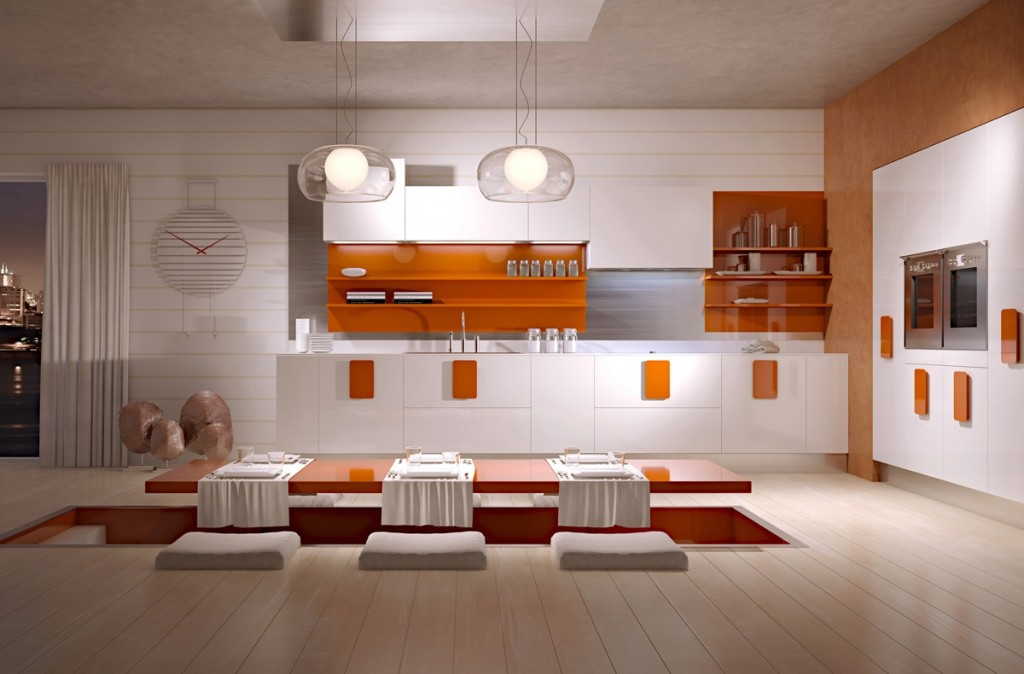 turuncu beyaz yemek odası