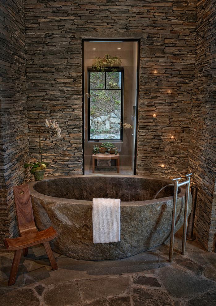 gri taşlı banyo