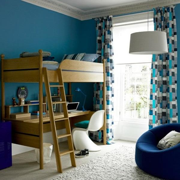 mavi tonlarda genç odası