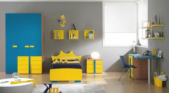 sarı mavi genç odası