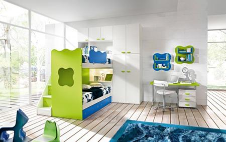 yeşil beyaz genç odası