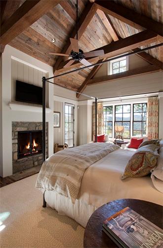 Şömineli yatak odası tasarımı