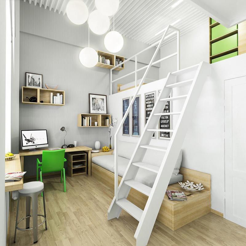 Asma katlı genç odası tasarımı