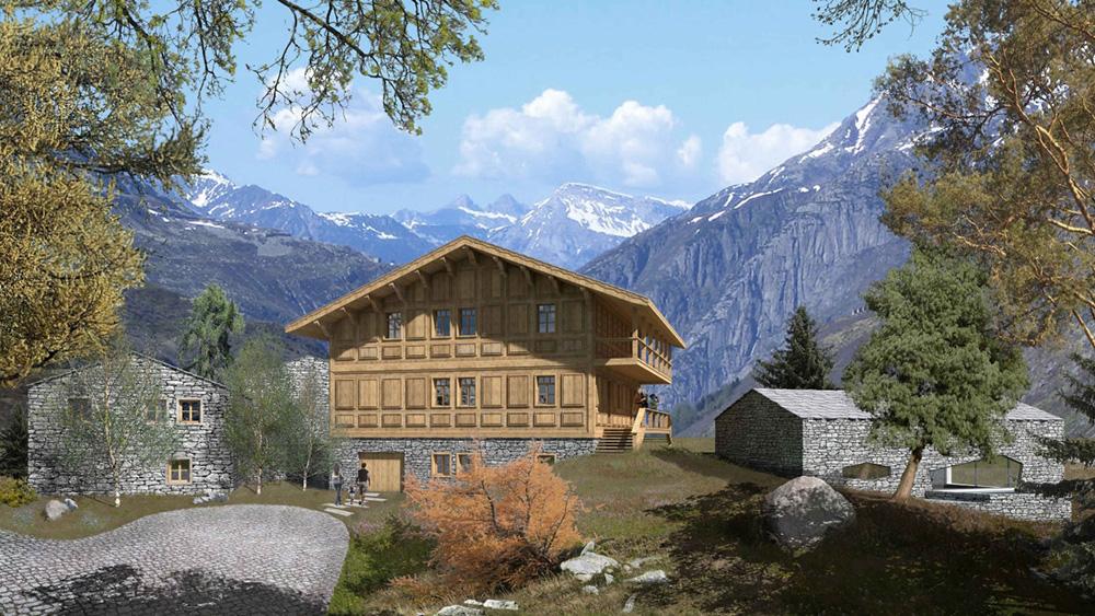 Görkemli dağ evi