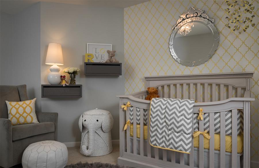 Gri bebek odası modeli, oldukça klas bir görünümde