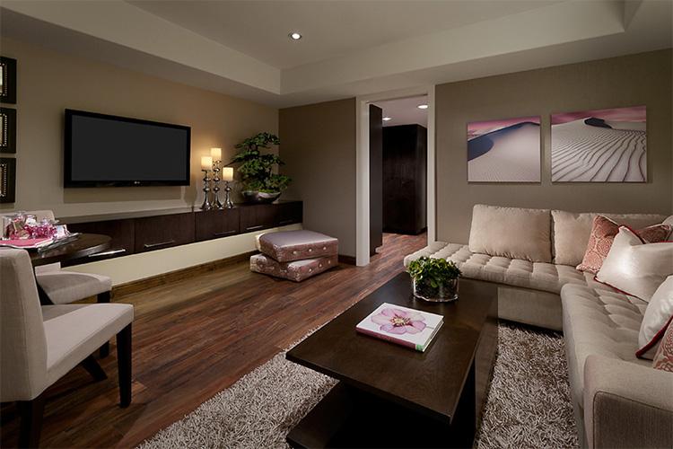 Koyu renkli oturma odası modeli