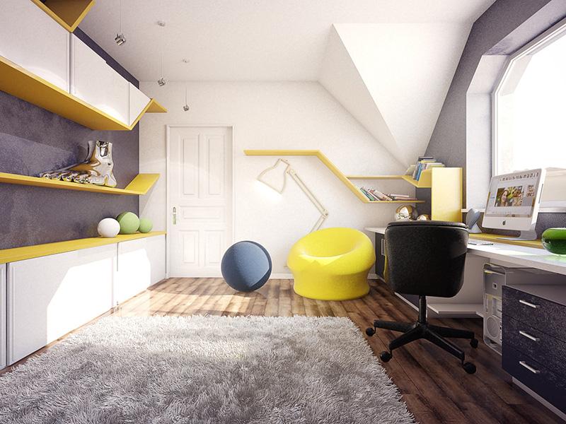 Sarı genç odası tasarımı