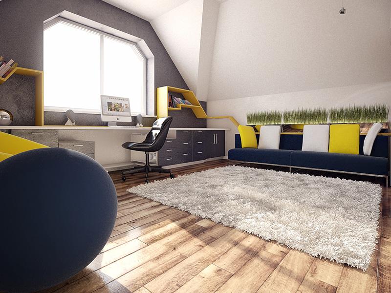 Sarı mavi geç odası tasarımı