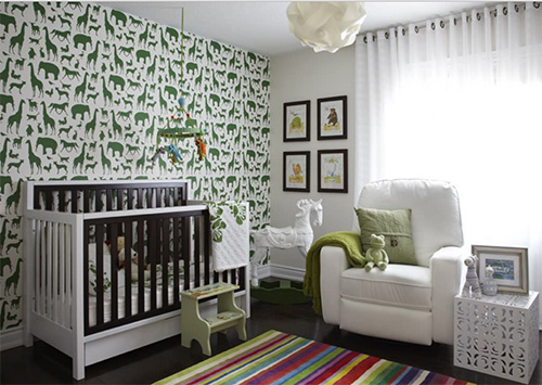 Yeşil bebek odası modeli