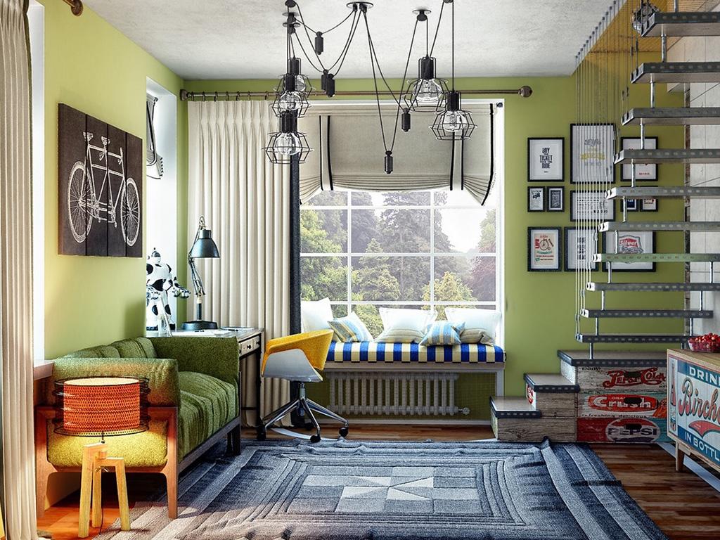 Yeşil genç odası tasarımı