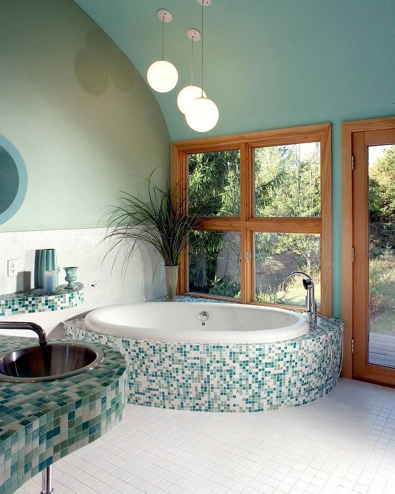 Mavi ve yeşil banyo modeli