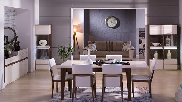 Farklı renklerle hoşnutluğu simgeleyen İstikbal Caprice Yemek Odası Takımı.