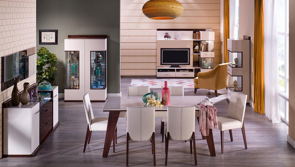 Ceviz ve fildişi renklerinin uyumu İstikbal Silva Yemek Odası Takımı.