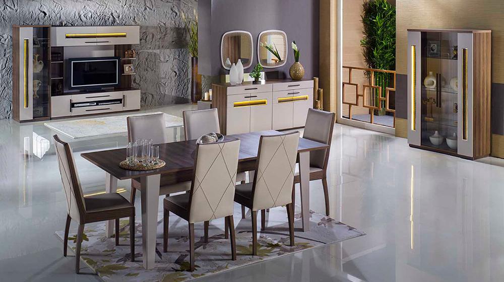 Düz bir formda tasarlanmış  İstikbal Zenit Yemek Odası Takımı.