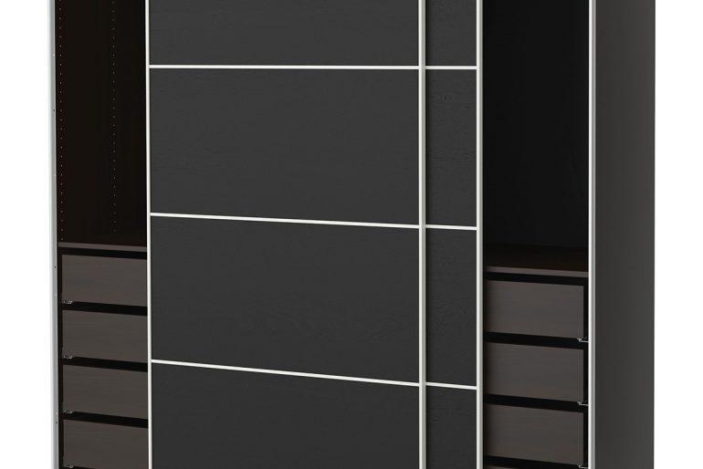 İkea'dan oldukça modern siyah kapak sürgülü gardrop modeli..
