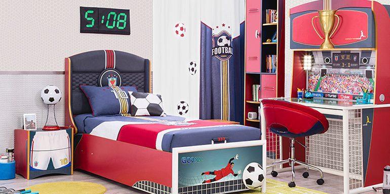 Futbol seven çocuklar için harika bir çocuk odası tasarımı..