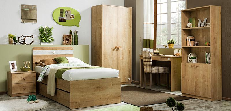 Ahşap tasarımlı kaliteli genç odası modeli..