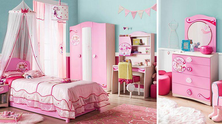 Prenses cicili ve pembe çiçek odası modeli..