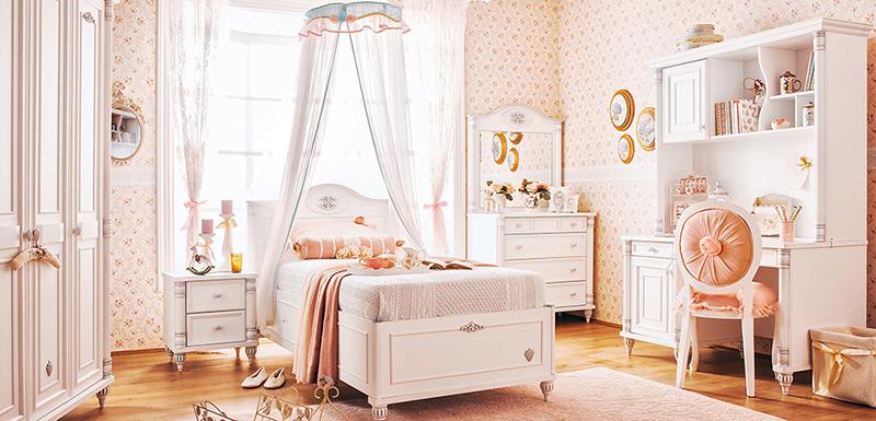 Göz alıcı bayan genç odası Çilek Mobilya Romantic..