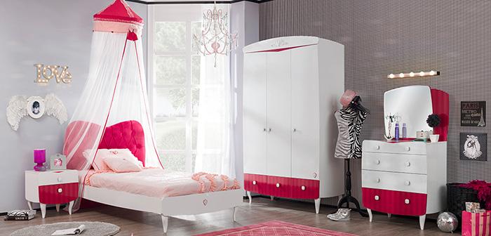 Yakut Çilek genç bayan odası tasarımları..
