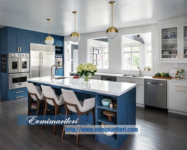 Mavi Şık Mutfak Tasarımı