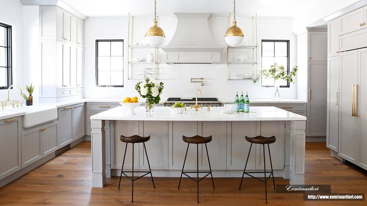 Beyaz ahşap mutfak modeli