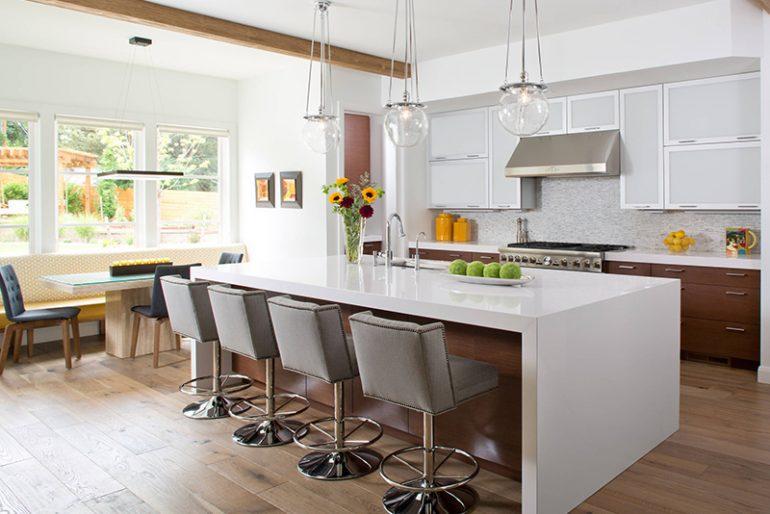 Modern beyaz mutfak mimarisi