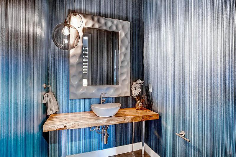 Mavi rustik lavabo