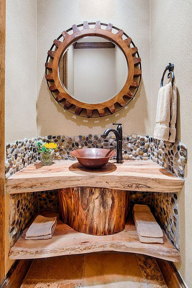 Sanatsal rustik lavabo