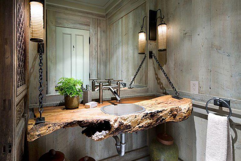 Tahta rustik lavabo