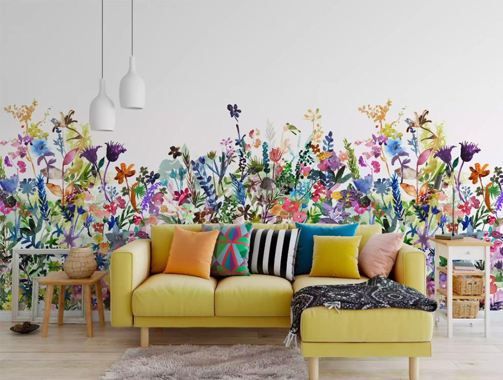 Oda Duvarı Dekorasyonu için 10 Fikir. Parlak duvar kağılı canlı oda