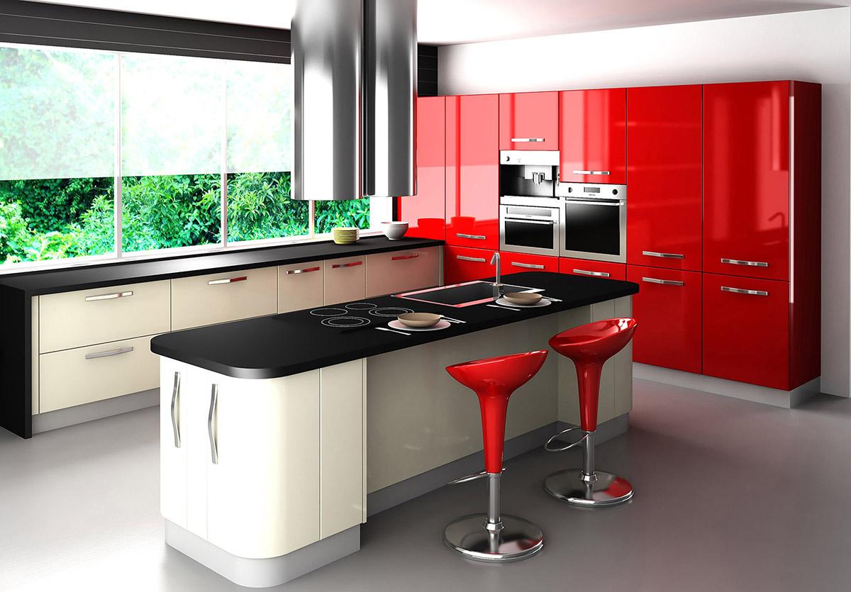 Kırmızı Mutfak. Her Mevsime Uyum Sağlayacak Mutfak Renkleri