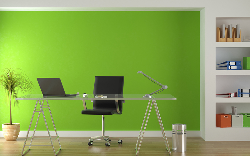 Yeşil Renk Ofis Duvarı
